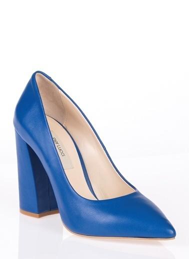 Pier Lucci Deri Topuklu Ayakkabı Mavi